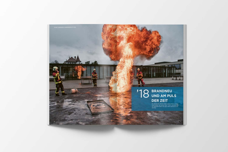 Geschäftsbericht Stadt Lenzburg, Doppelseite Feuerwehr