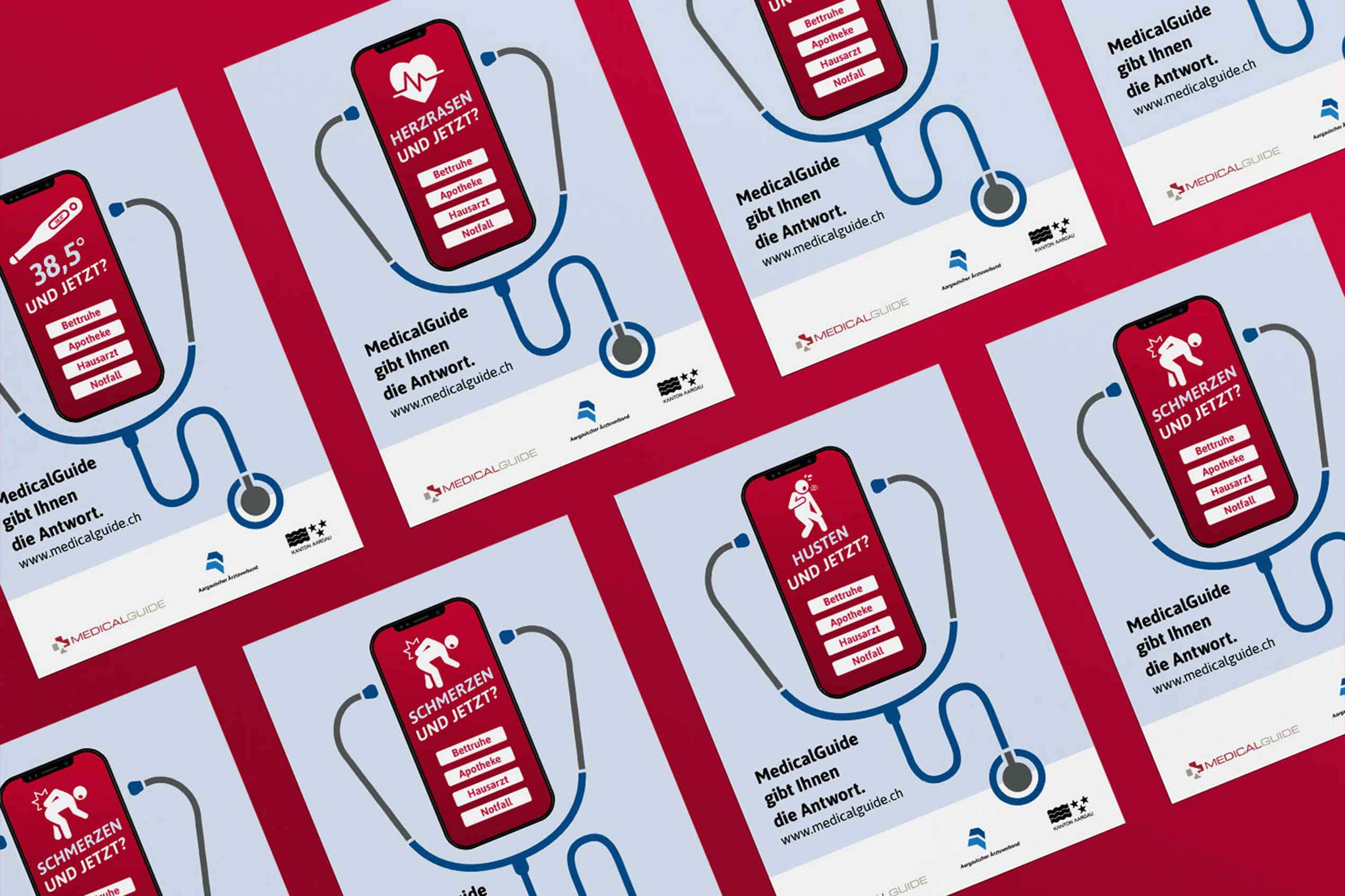 Plakate zum Launch der Medical-Guide-App mit der Illustration des User Interfaces auf dem Smartphone