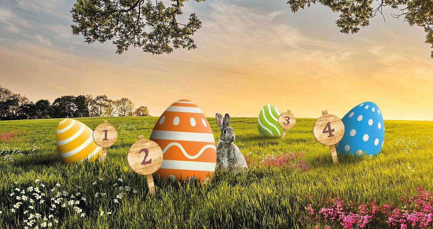 Osterkalender 2020 mit vier Eiern, die wie Türchen über Ostern geöffnet werden können